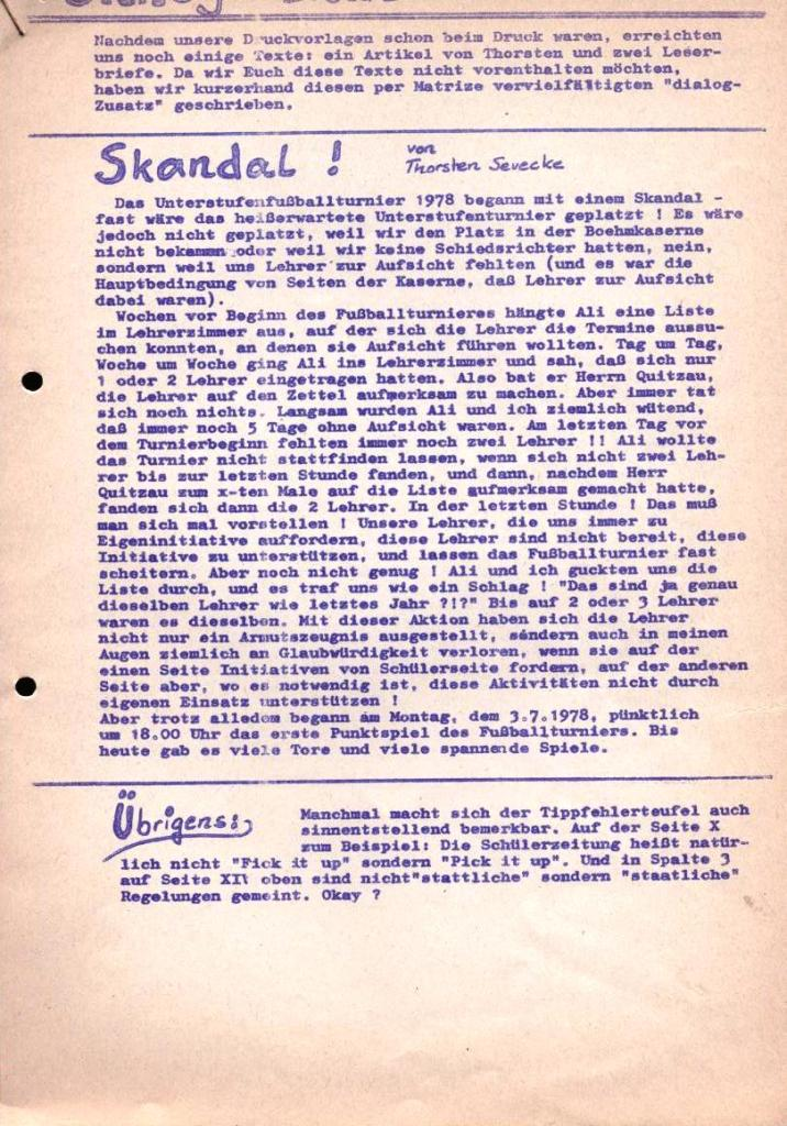 Dialog _ Zeitung für das Gymnasium Rahlstedt, Nr. 2/1978, Zusatz_Seite 1