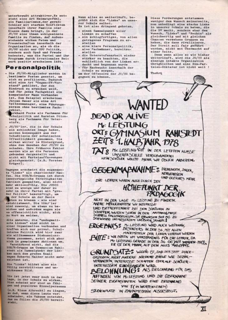 Dialog _ Zeitung für das Gymnasium Rahlstedt, Nr. 2/1978, Seite 11