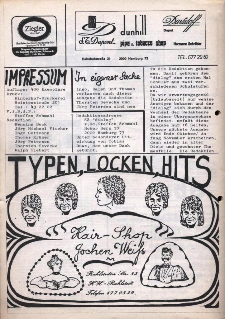 Dialog _ Zeitung für das Gymnasium Rahlstedt, Nr. 2/1978, Seite 16
