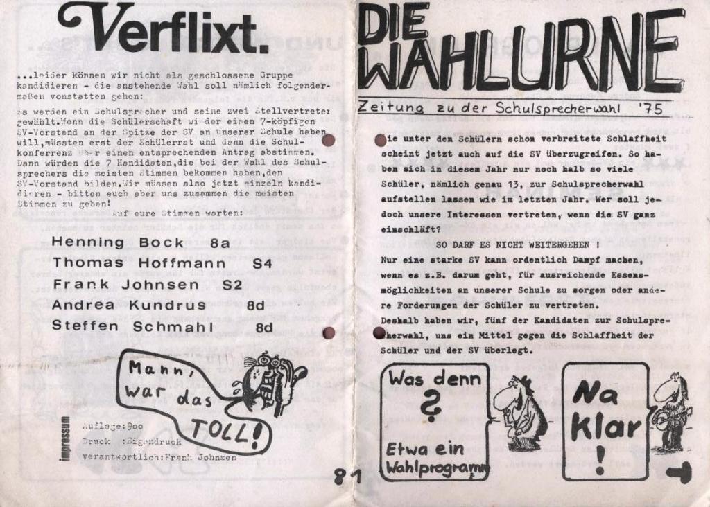 Die Wahlurne _ Zeitung zu der Schulsprecherwahl 1975, S. 1 und 8