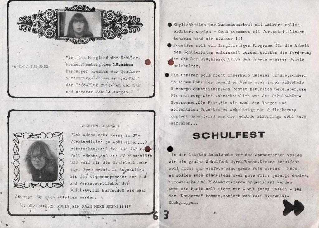 Die Wahlurne _ Zeitung zu der Schulsprecherwahl 1975, S. 3 und 6