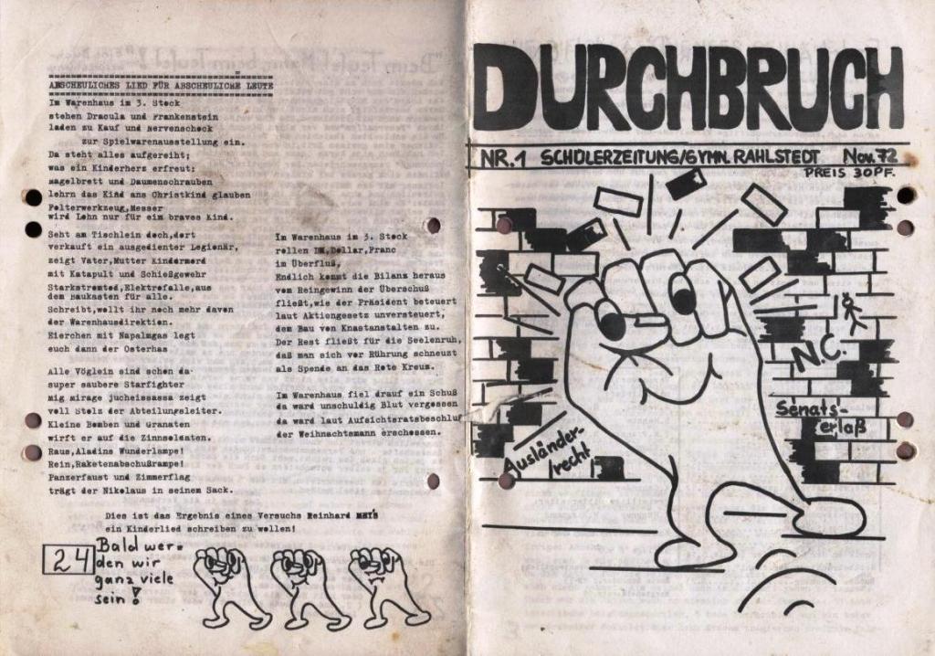 Durchbruch _ Schülerzeitung/Gymnasium Rahlstedt, November 1972, Nr. 1, Seite 1 und 24