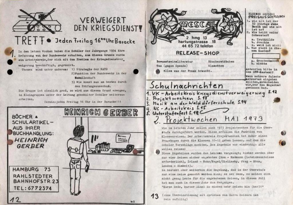 Durchbruch _ Schülerzeitung/Gymnasium Rahlstedt, November 1972, Nr. 1, Seite 12 und 13