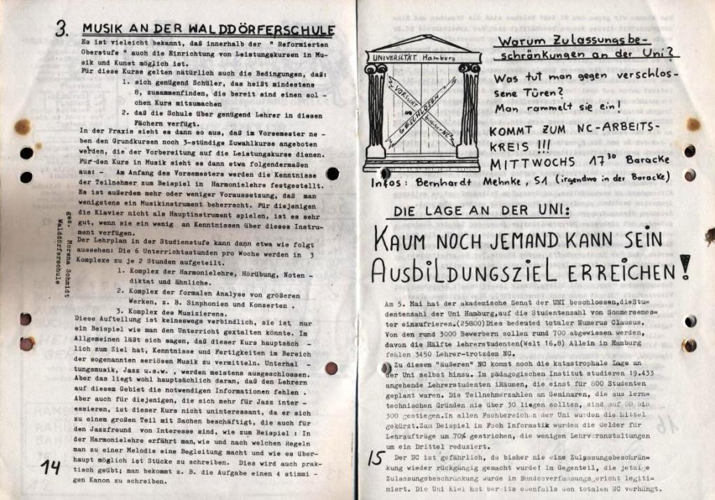 Durchbruch _ Schülerzeitung/Gymnasium Rahlstedt, November 1972, Nr. 1, Seite 14 und 15