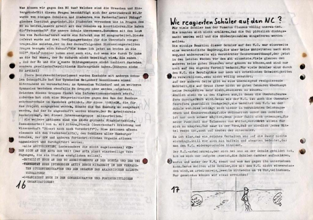 Durchbruch _ Schülerzeitung/Gymnasium Rahlstedt, November 1972, Nr. 1, Seite 16 und 17