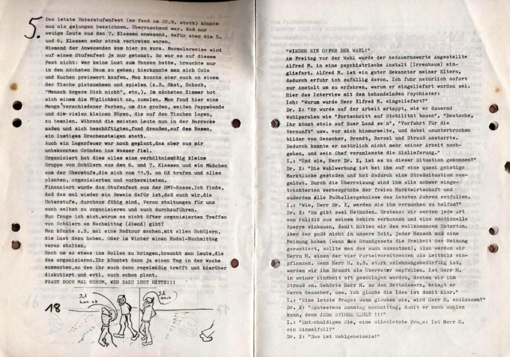 Durchbruch _ Schülerzeitung/Gymnasium Rahlstedt, November 1972, Nr. 1, Seite 18 und 19