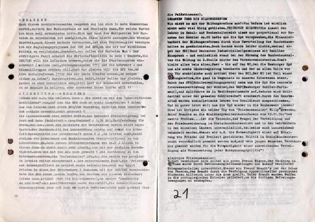 Durchbruch _ Schülerzeitung/Gymnasium Rahlstedt, November 1972, Nr. 1, Seite 20 und 21