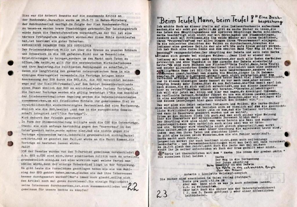 Durchbruch _ Schülerzeitung/Gymnasium Rahlstedt, November 1972, Nr. 1, Seite 22 und 23