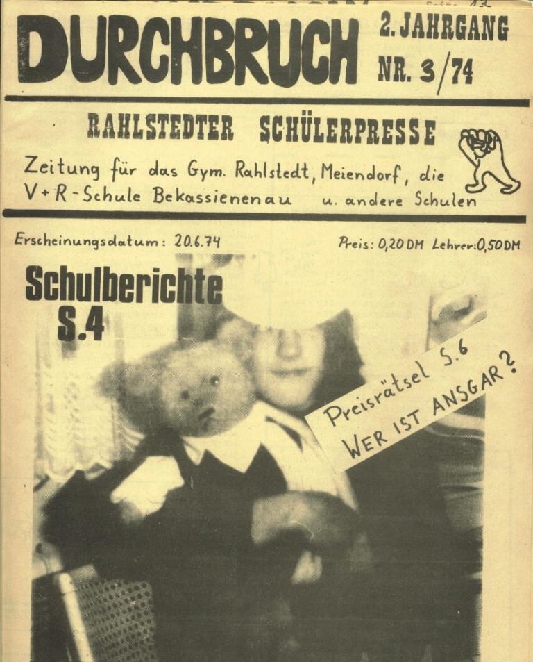 Durchbruch _ Rahlstedter Schülerpresse, 2. Jg., 1974, Nr. 3, Seite 1