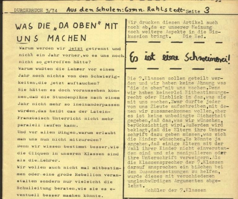 Durchbruch _ Rahlstedter Schülerpresse, 2. Jg., 1974, Nr. 3, Seite 3
