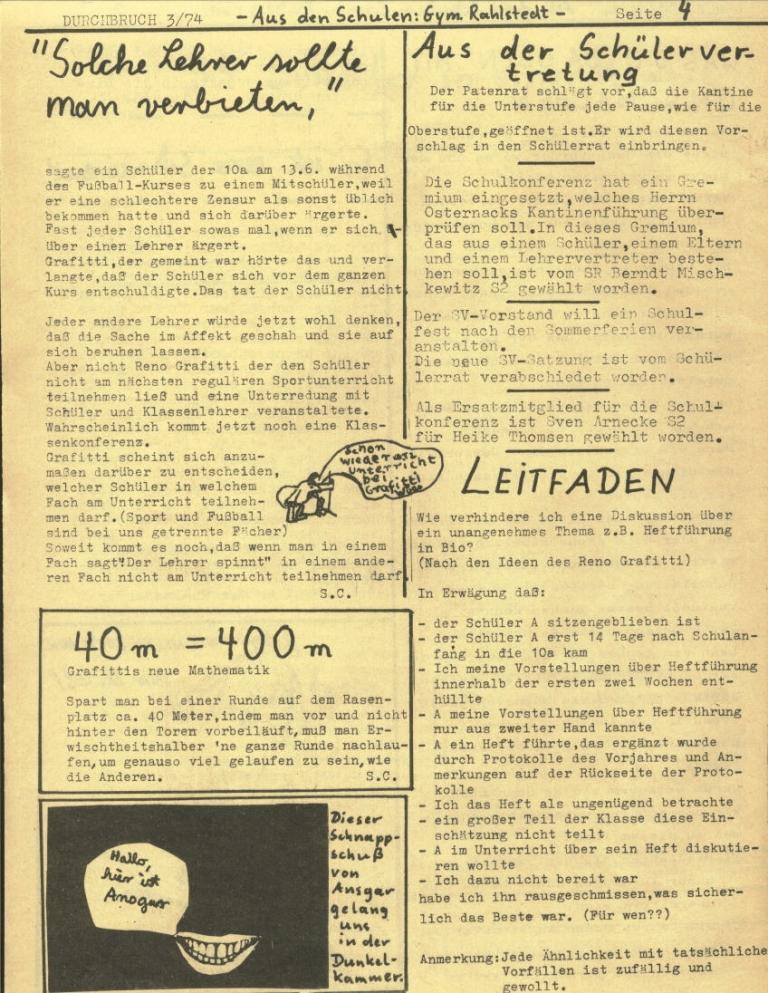 Durchbruch _ Rahlstedter Schülerpresse, 2. Jg., 1974, Nr. 3, Seite 4