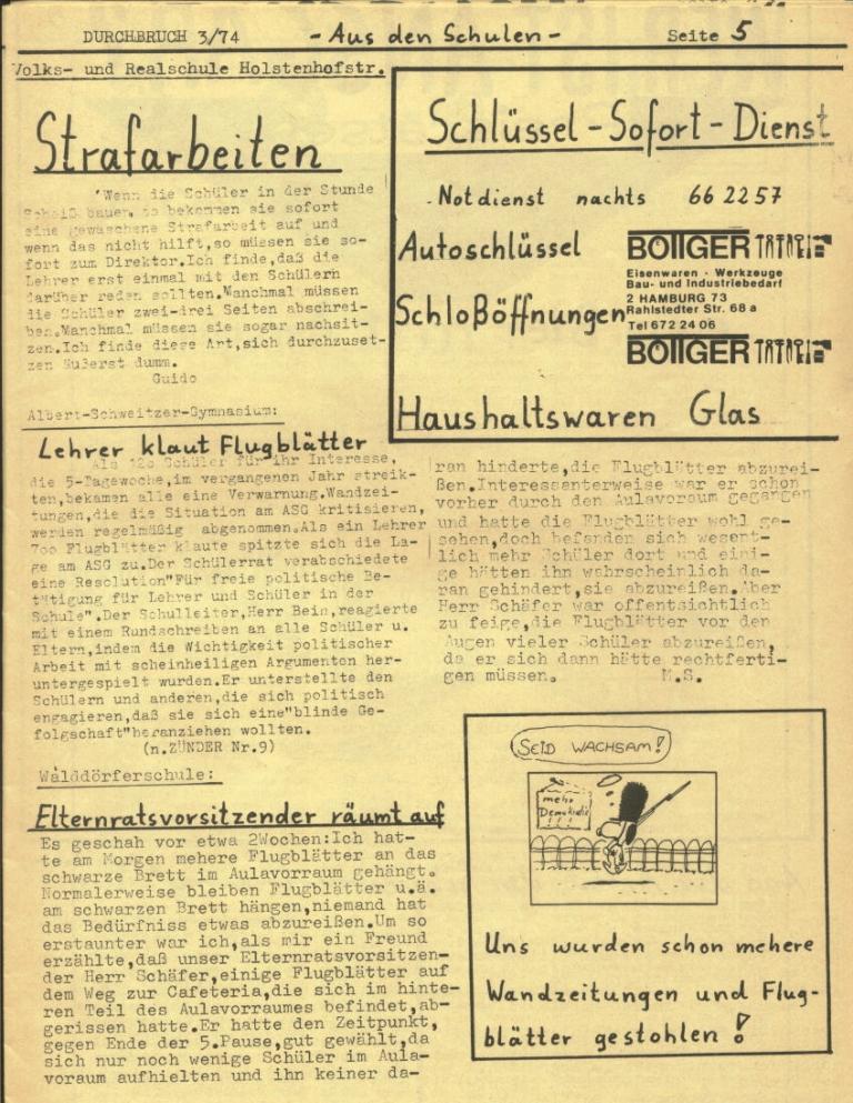Durchbruch _ Rahlstedter Schülerpresse, 2. Jg., 1974, Nr. 3, Seite 5