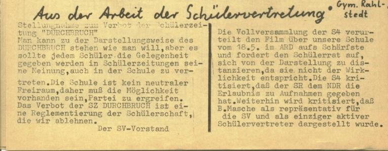 Durchbruch _ Rahlstedter Schülerpresse, 2. Jg., 1974, Nr. 3, Seite 6a