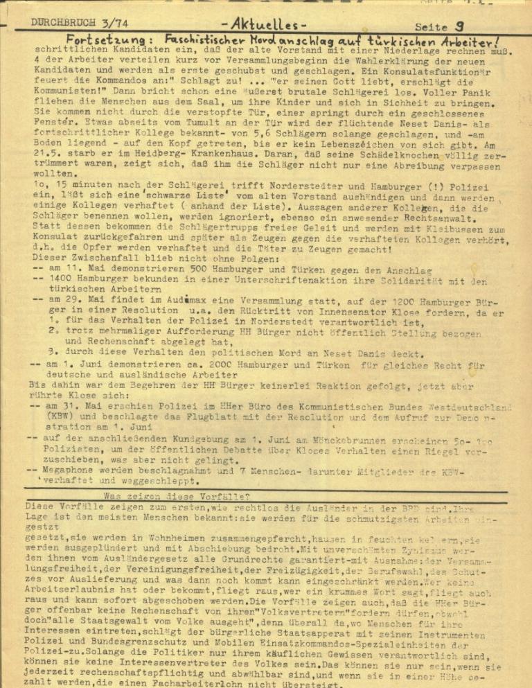 Durchbruch _ Rahlstedter Schülerpresse, 2. Jg., 1974, Nr. 3, Seite 9