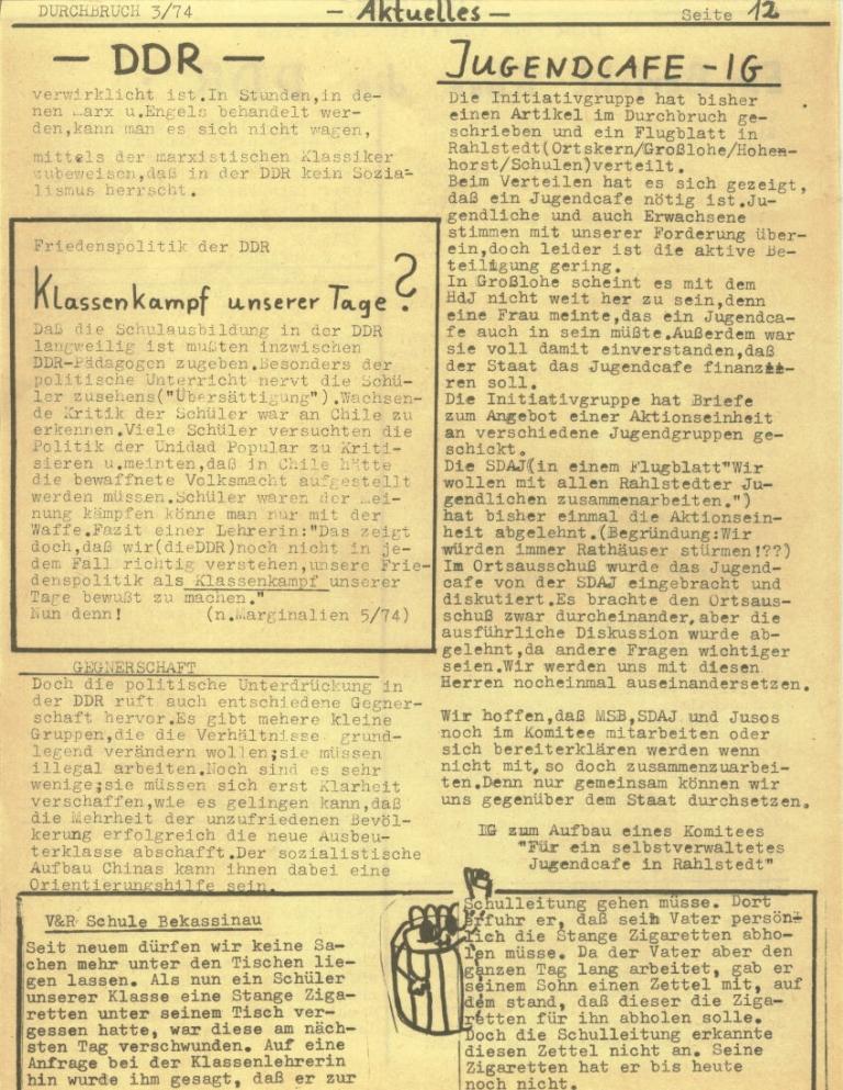 Durchbruch _ Rahlstedter Schülerpresse, 2. Jg., 1974, Nr. 3, Seite 12