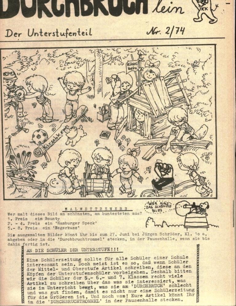 Durchbruch _ Rahlstedter Schülerpresse, 2. Jg., 1974, Nr. 3, Seite 13