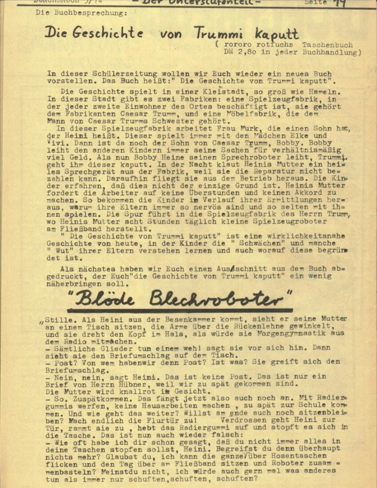 Durchbruch _ Rahlstedter Schülerpresse, 2. Jg., 1974, Nr. 3, Seite 14