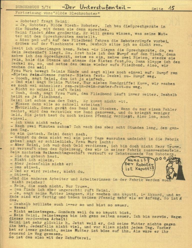 Durchbruch _ Rahlstedter Schülerpresse, 2. Jg., 1974, Nr. 3, Seite 15