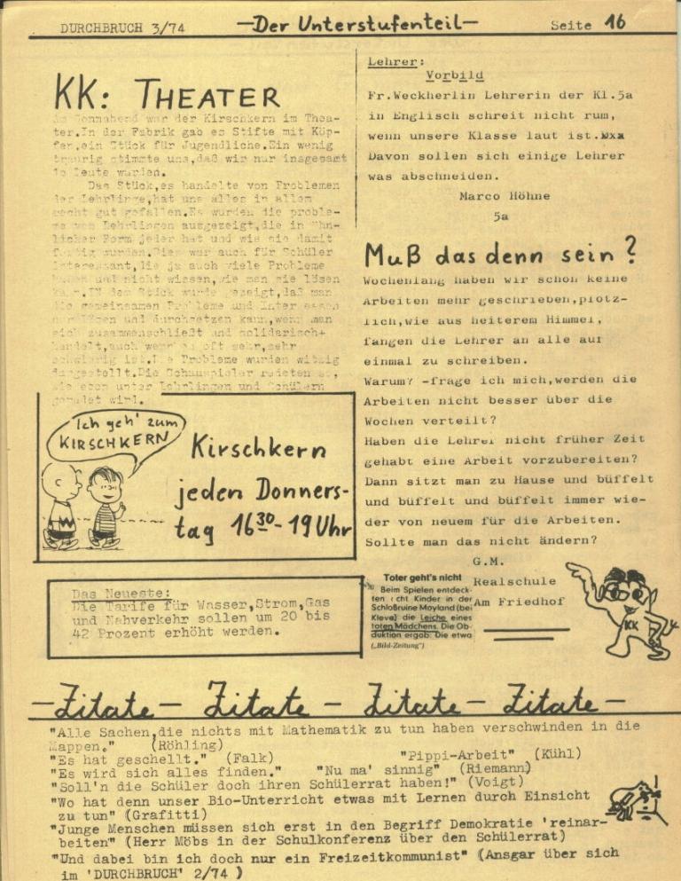Durchbruch _ Rahlstedter Schülerpresse, 2. Jg., 1974, Nr. 3, Seite 16