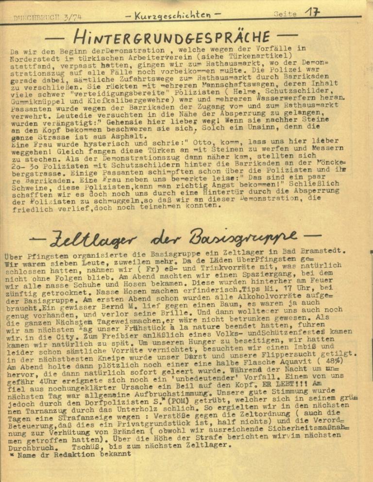 Durchbruch _ Rahlstedter Schülerpresse, 2. Jg., 1974, Nr. 3, Seite 17