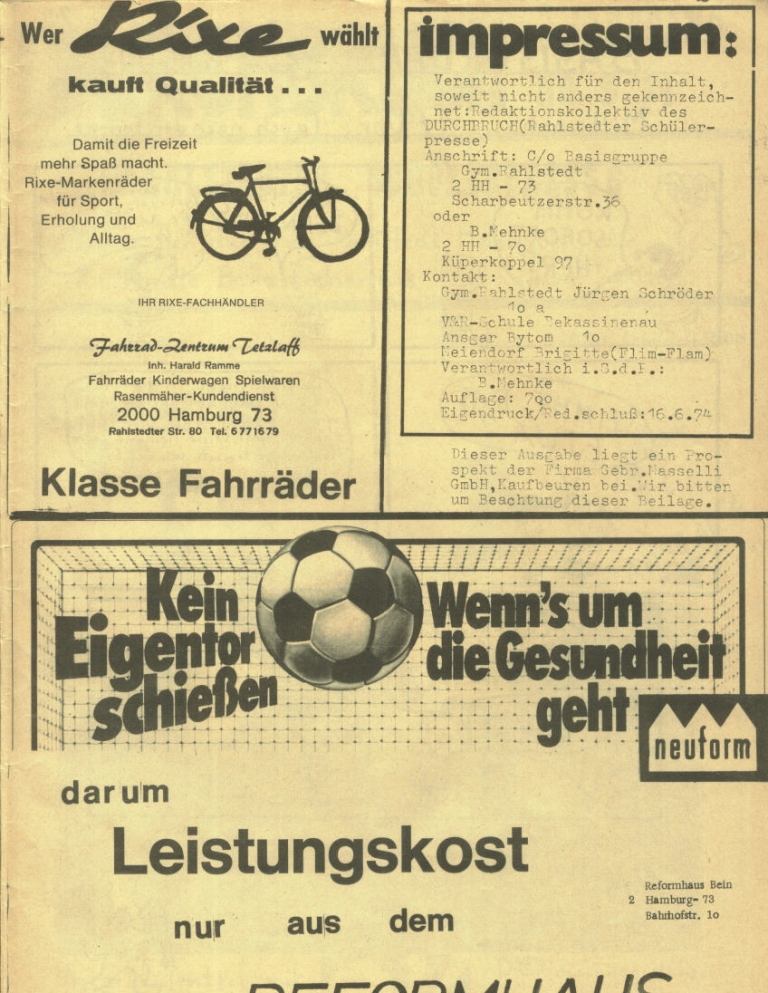Durchbruch _ Rahlstedter Schülerpresse, 2. Jg., 1974, Nr. 3, Seite 21