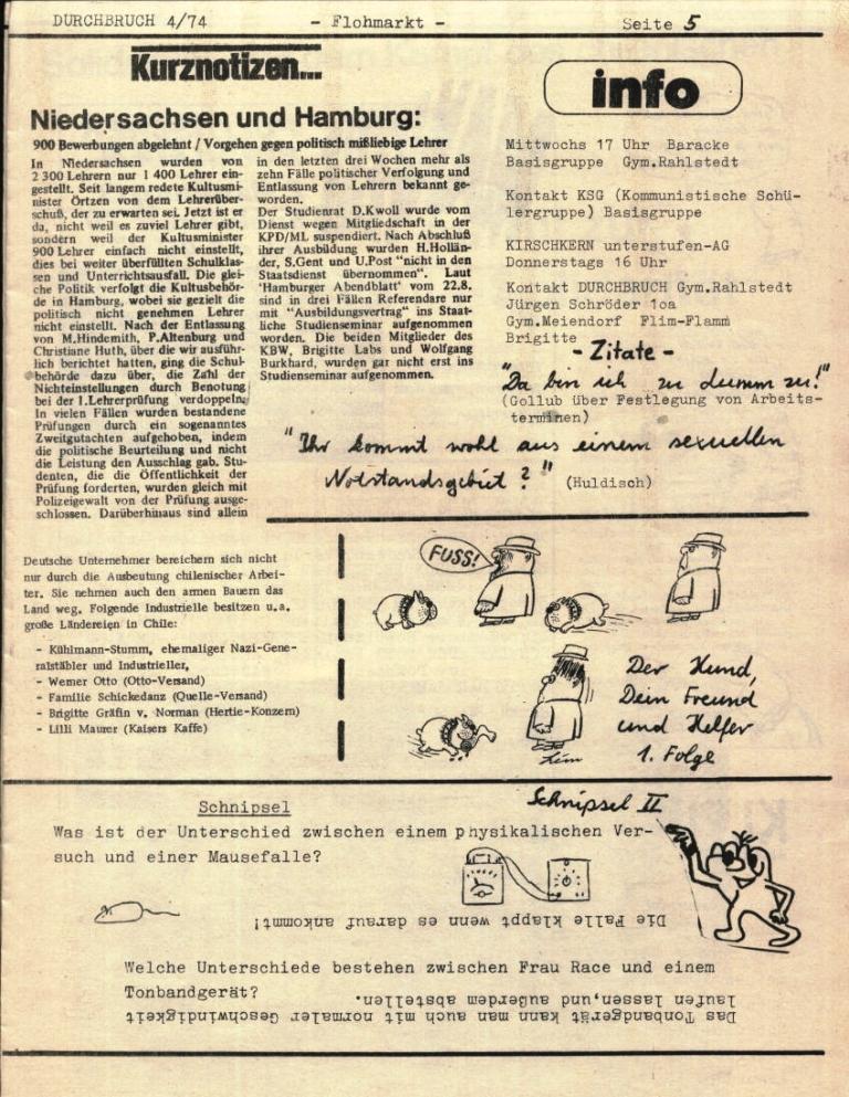 Durchbruch _ Rahlstedter Schülerpresse, 2. Jg., 1974, Nr. 4, Seite 5