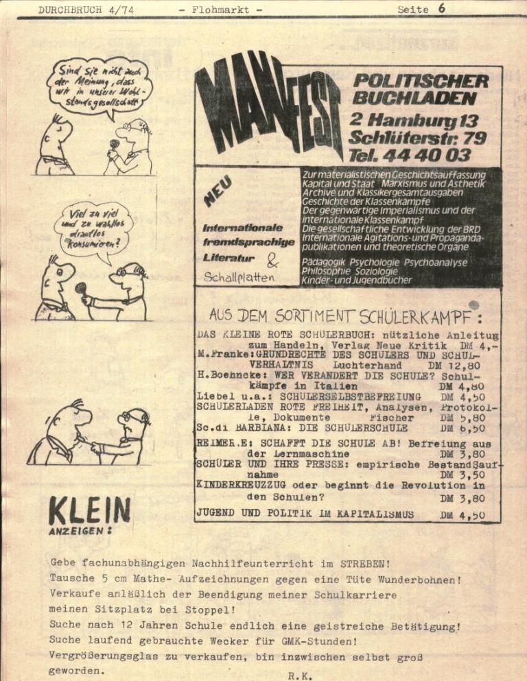 Durchbruch _ Rahlstedter Schülerpresse, 2. Jg., 1974, Nr. 4, Seite 6