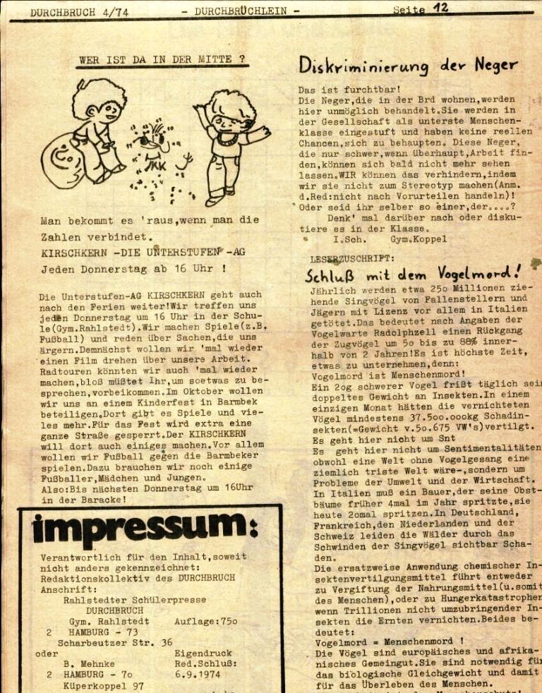 Durchbruch _ Rahlstedter Schülerpresse, 2. Jg., 1974, Nr. 4, Seite 12