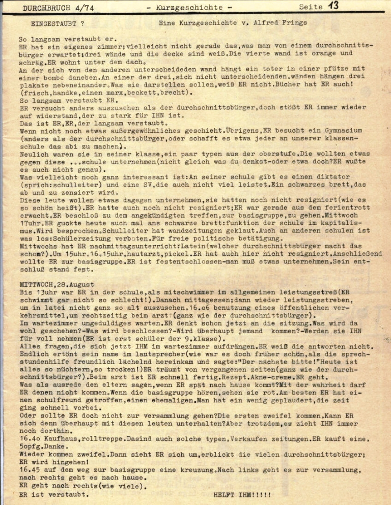 Durchbruch _ Rahlstedter Schülerpresse, 2. Jg., 1974, Nr. 4, Seite 13