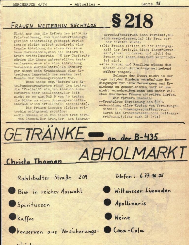 Durchbruch _ Rahlstedter Schülerpresse, 2. Jg., 1974, Nr. 4, Seite 15