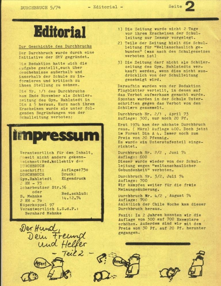 Durchbruch _ Rahlstedter Schülerpresse, 2. Jg., 1974, Nr. 5, Seite 2