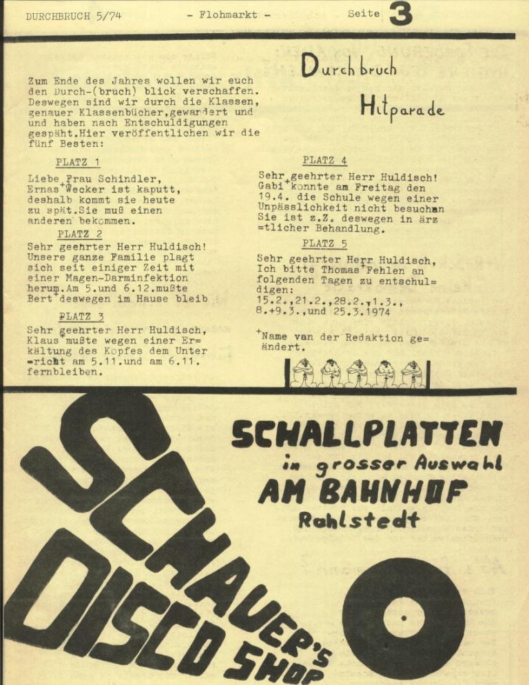 Durchbruch _ Rahlstedter Schülerpresse, 2. Jg., 1974, Nr. 5, Seite 3