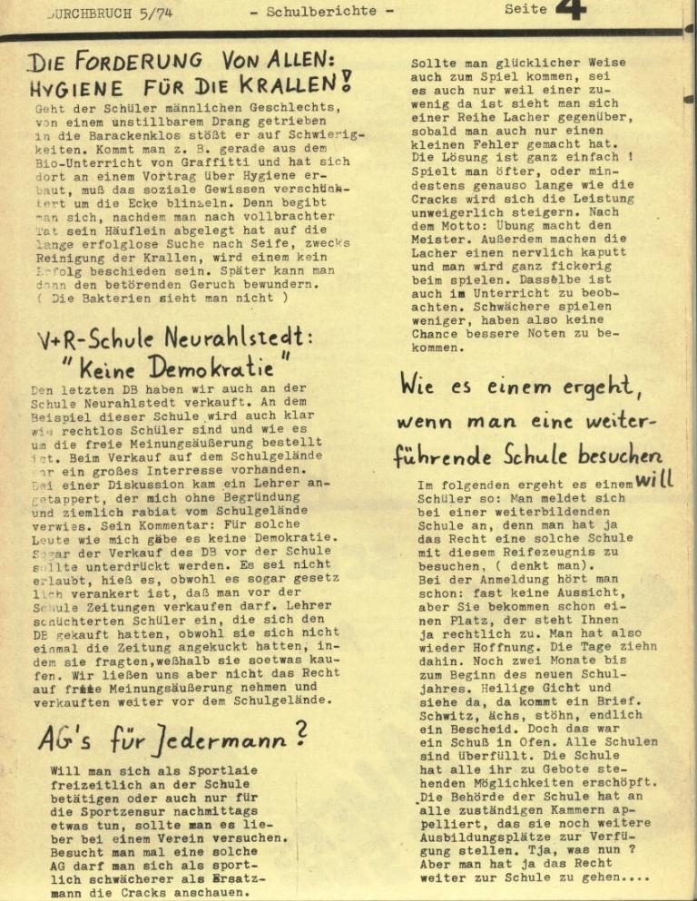 Durchbruch _ Rahlstedter Schülerpresse, 2. Jg., 1974, Nr. 5, Seite 4