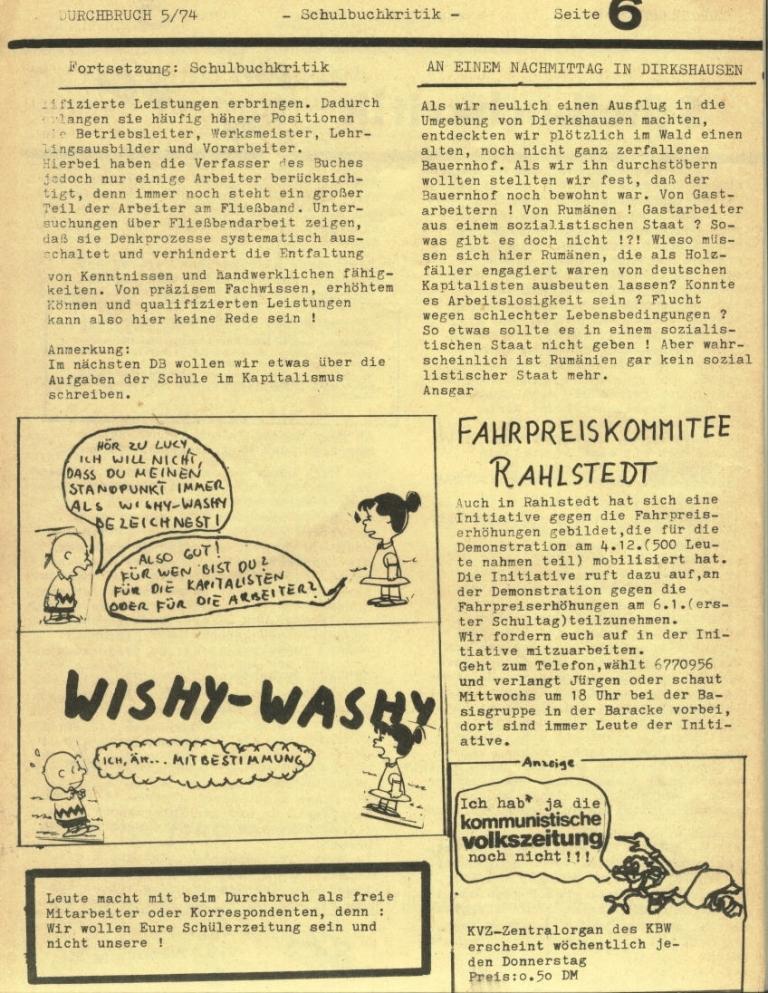 Durchbruch _ Rahlstedter Schülerpresse, 2. Jg., 1974, Nr. 5, Seite 6
