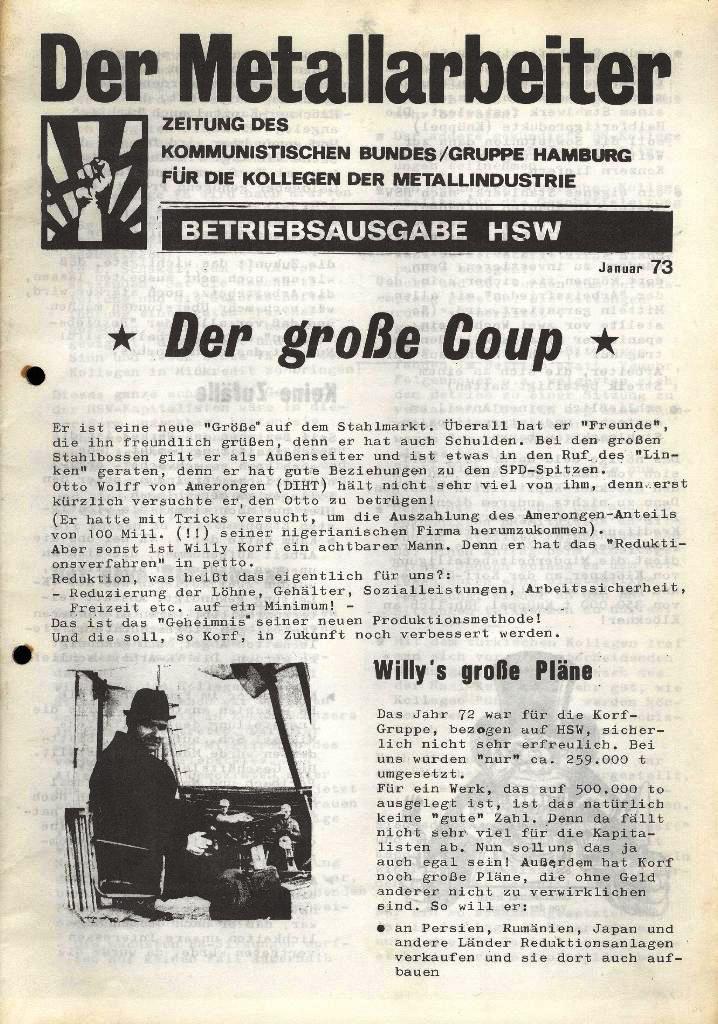 Der Metallarbeiter _ Zeitung des Kommunistischen Bundes/Gruppe Hamburg für die Kollegen der Metallindustrie _ Betriebsausgabe HSW, Januar 1973, Seite 1