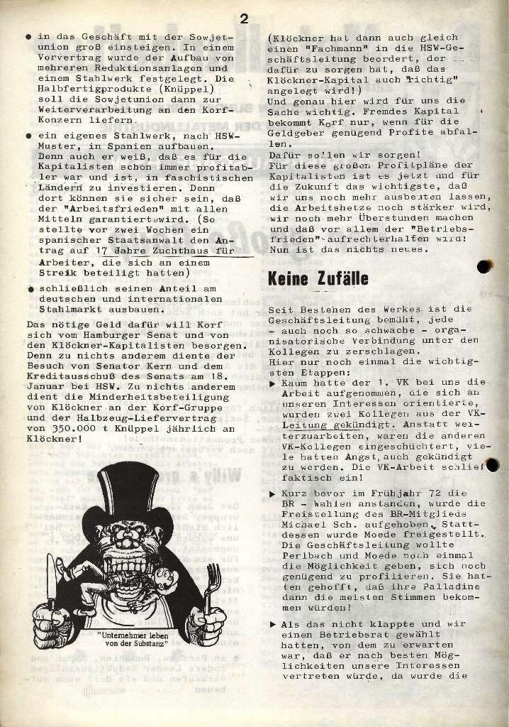 Der Metallarbeiter _ Zeitung des Kommunistischen Bundes/Gruppe Hamburg für die Kollegen der Metallindustrie _ Betriebsausgabe HSW, Januar 1973, Seite 2