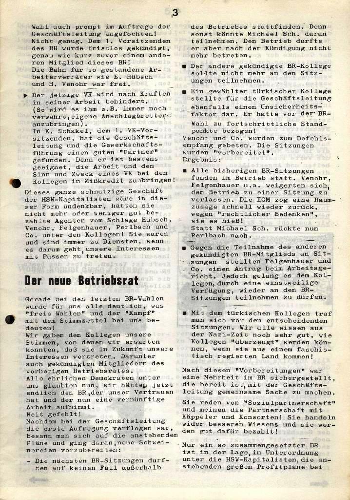 Der Metallarbeiter _ Zeitung des Kommunistischen Bundes/Gruppe Hamburg für die Kollegen der Metallindustrie _ Betriebsausgabe HSW, Januar 1973, Seite 3