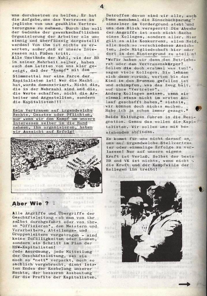 Der Metallarbeiter _ Zeitung des Kommunistischen Bundes/Gruppe Hamburg für die Kollegen der Metallindustrie _ Betriebsausgabe HSW, Januar 1973, Seite 4