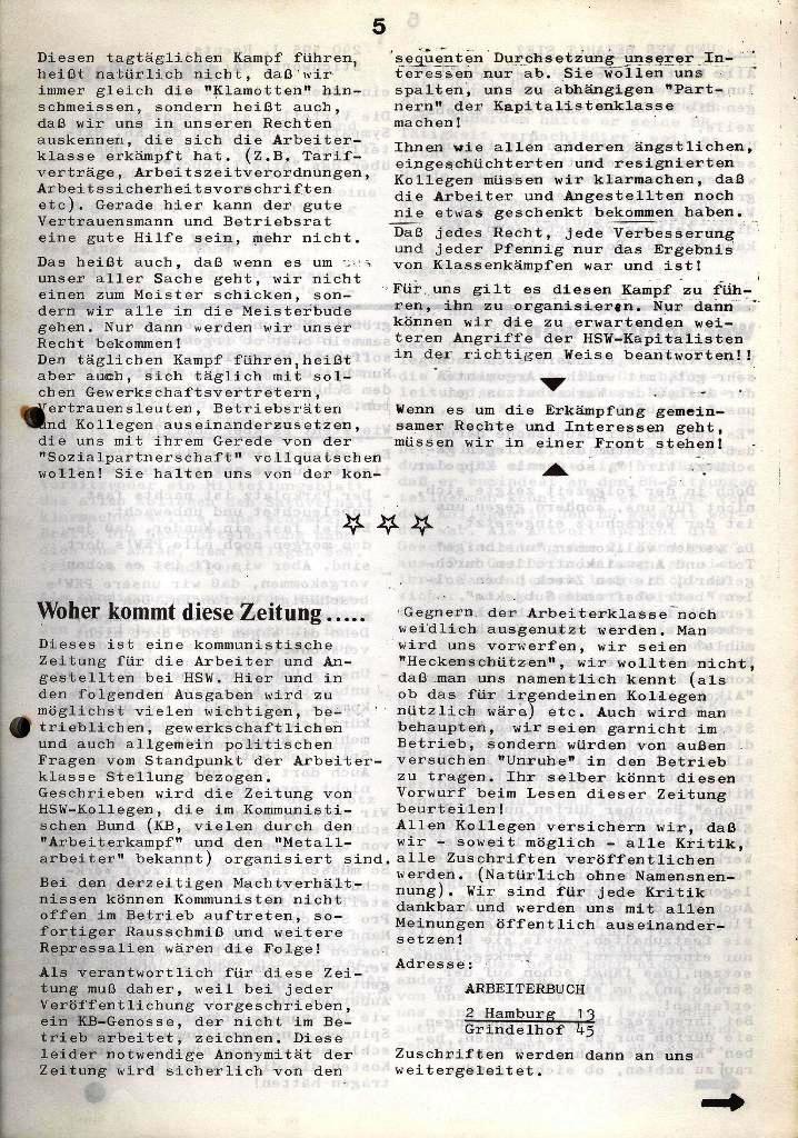 Der Metallarbeiter _ Zeitung des Kommunistischen Bundes/Gruppe Hamburg für die Kollegen der Metallindustrie _ Betriebsausgabe HSW, Januar 1973, Seite 5