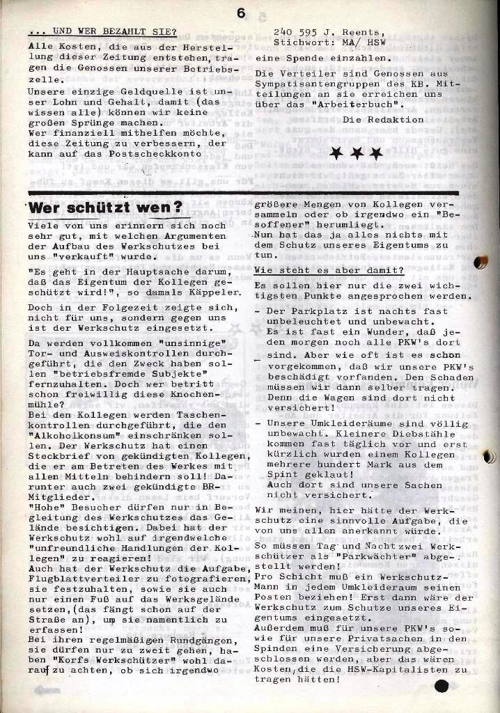 Der Metallarbeiter _ Zeitung des Kommunistischen Bundes/Gruppe Hamburg für die Kollegen der Metallindustrie _ Betriebsausgabe HSW, Januar 1973, Seite 6