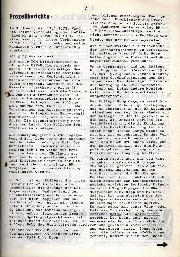 Der Metallarbeiter _ Zeitung des Kommunistischen Bundes/Gruppe Hamburg für die Kollegen der Metallindustrie _ Betriebsausgabe HSW, Januar 1973, Seite 7