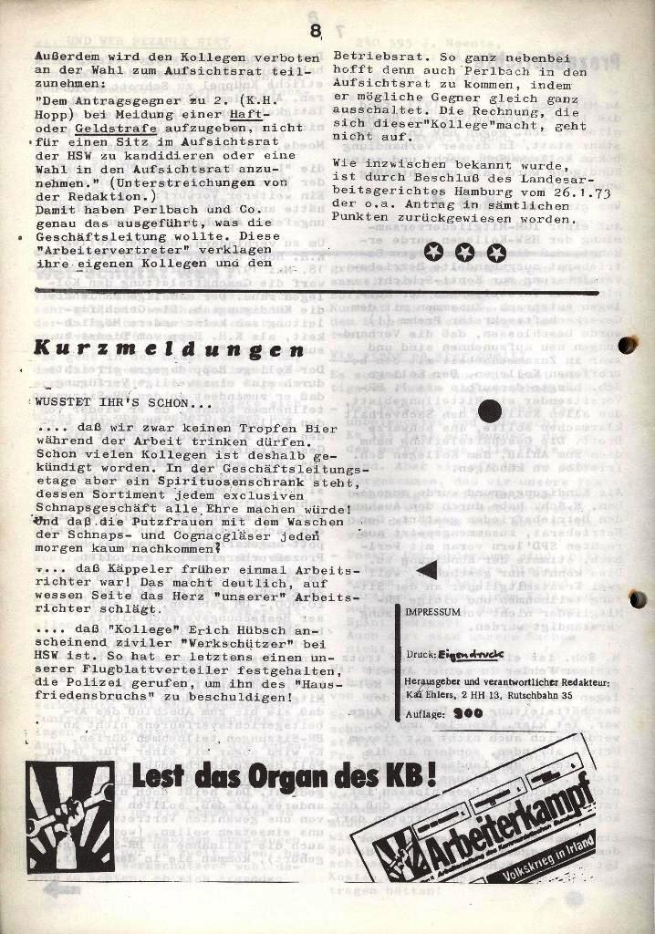 Der Metallarbeiter _ Zeitung des Kommunistischen Bundes/Gruppe Hamburg für die Kollegen der Metallindustrie _ Betriebsausgabe HSW, Januar 1973, Seite 8