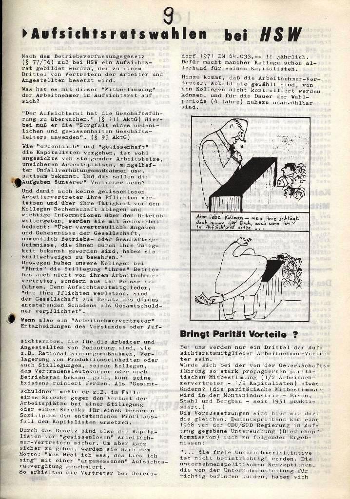 Der Metallarbeiter _ Zeitung des Kommunistischen Bundes/Gruppe Hamburg für die Kollegen der Metallindustrie _ Betriebsausgabe HSW, Januar 1973, Seite 9