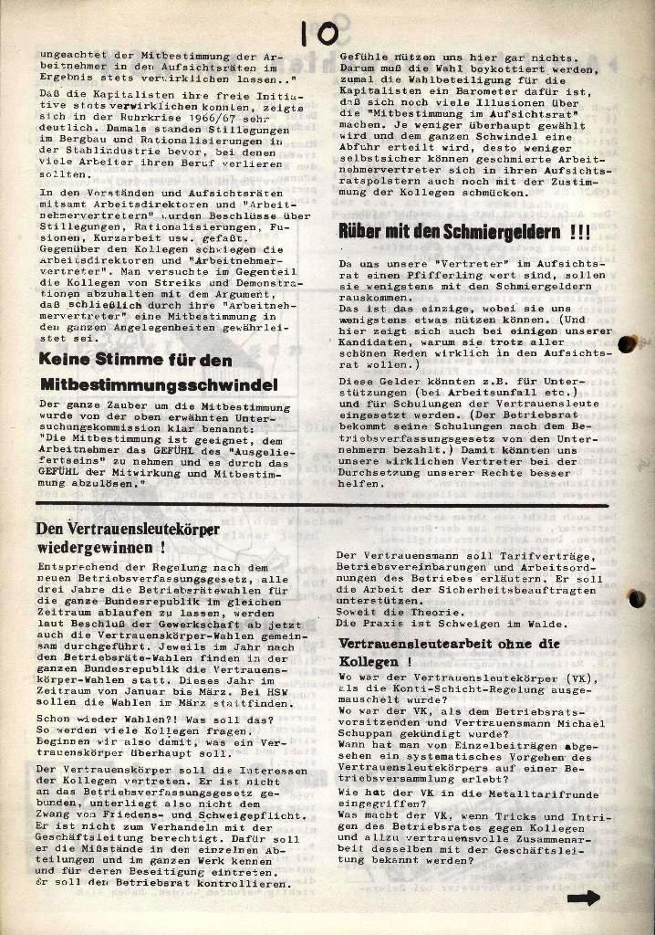 Der Metallarbeiter _ Zeitung des Kommunistischen Bundes/Gruppe Hamburg für die Kollegen der Metallindustrie _ Betriebsausgabe HSW, Januar 1973, Seite 10