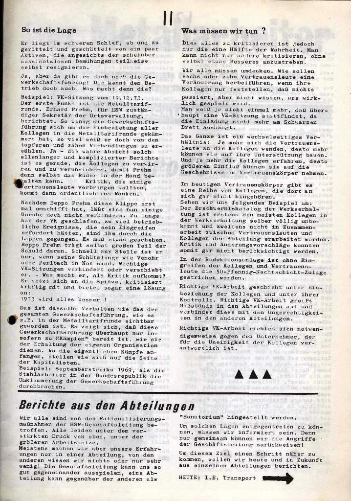 Der Metallarbeiter _ Zeitung des Kommunistischen Bundes/Gruppe Hamburg für die Kollegen der Metallindustrie _ Betriebsausgabe HSW, Januar 1973, Seite 11