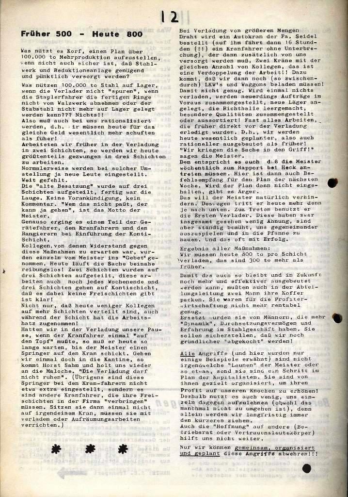 Der Metallarbeiter _ Zeitung des Kommunistischen Bundes/Gruppe Hamburg für die Kollegen der Metallindustrie _ Betriebsausgabe HSW, Januar 1973, Seite 12