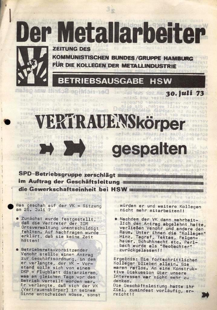 Der Metallarbeiter _ Zeitung des Kommunistischen Bundes/Gruppe Hamburg für die Kollegen der Metallindustrie _ Betriebsausgabe HSW, 30.7.1973, Seite 1