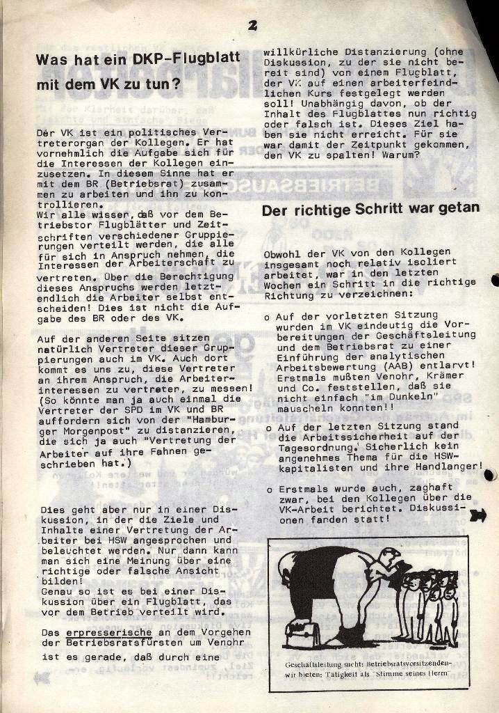 Der Metallarbeiter _ Zeitung des Kommunistischen Bundes/Gruppe Hamburg für die Kollegen der Metallindustrie _ Betriebsausgabe HSW, 30.7.1973, Seite 2