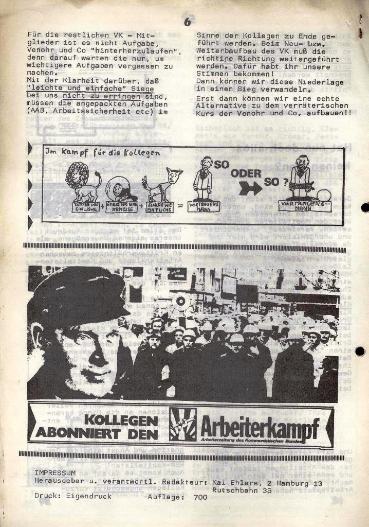 Der Metallarbeiter _ Zeitung des Kommunistischen Bundes/Gruppe Hamburg für die Kollegen der Metallindustrie _ Betriebsausgabe HSW, 30.7.1973, Seite 6