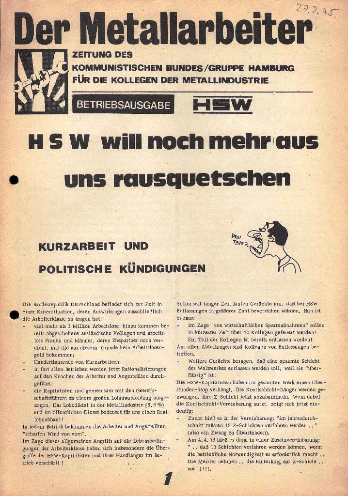 Der Metallarbeiter _ Zeitung des Kommunistischen Bundes/Gruppe Hamburg für die Kollegen der Metallindustrie _ Betriebsausgabe HSW, 27.2.1975, Seite 1